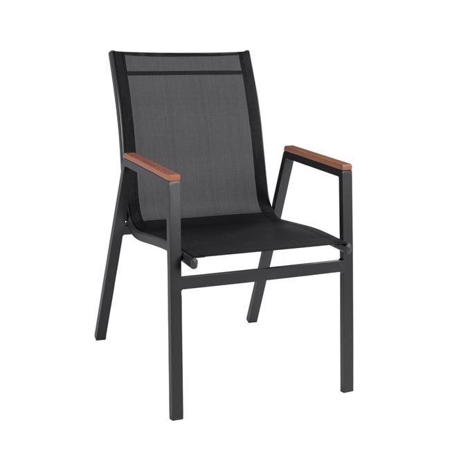 Πολυθρόνα από textilene/μέταλλο σε χρώμα γκρι/μαύρο 53x67x86