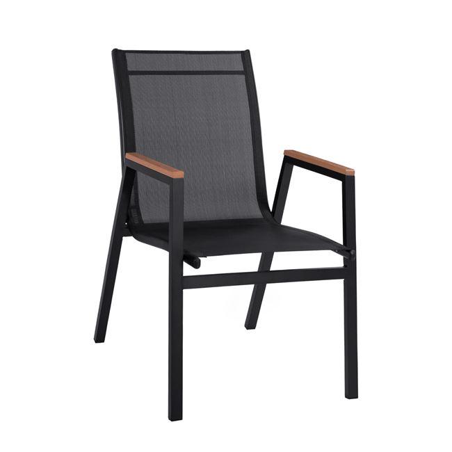 Πολυθρόνα από textilene/μέταλλο σε χρώμα μαύρο 53x67x86