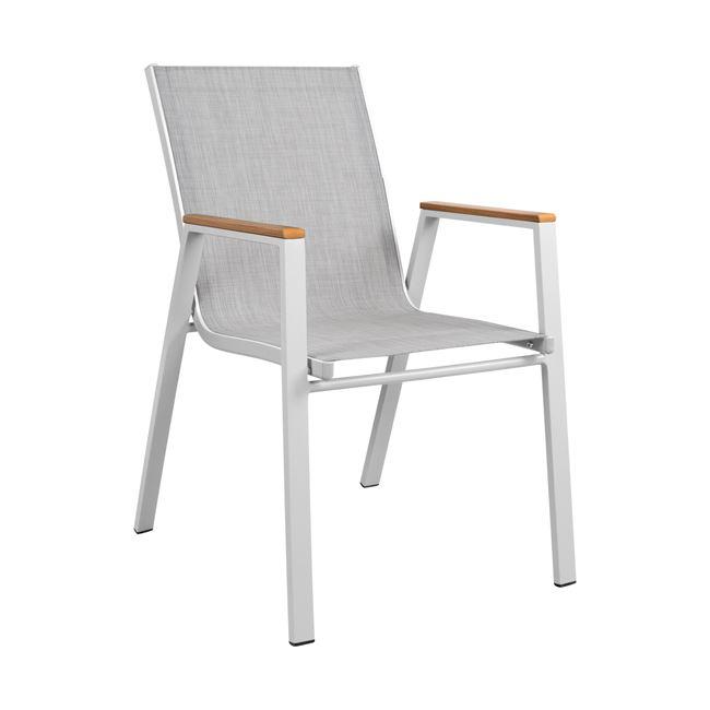 Πολυθρόνα από textilene/μέταλλο σε χρώμα γκρι/λευκό 53x67x87