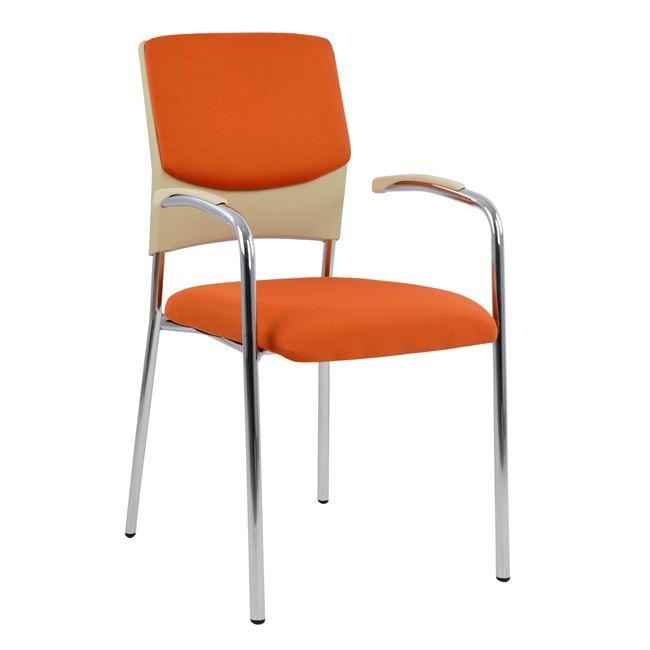 Πολυθρόνα επισκέπτη από ύφασμα/μέταλλο σε χρώμα πορτοκαλί 50x58x83
