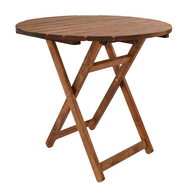 """Τραπέζι σκηνοθέτου """"ΝΑΞΟΣ"""" από μασίφ ξύλο σε χρώμα καρυδί Φ80×73"""