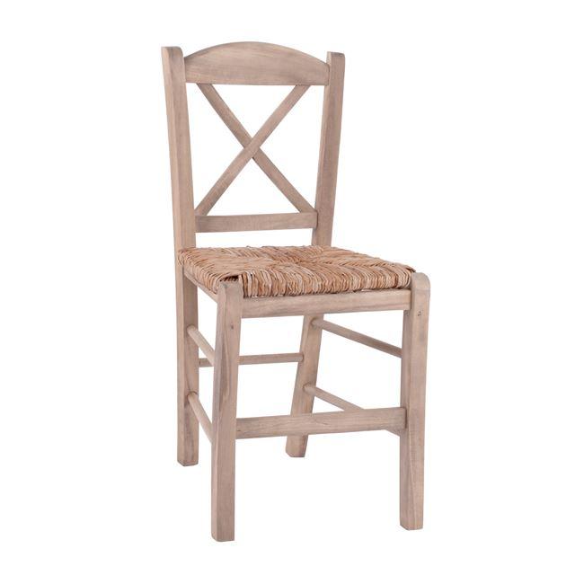 Καρέκλα καφενείου χιαστί από ξύλο/ψάθα άβαφη 40,5×41,5×88