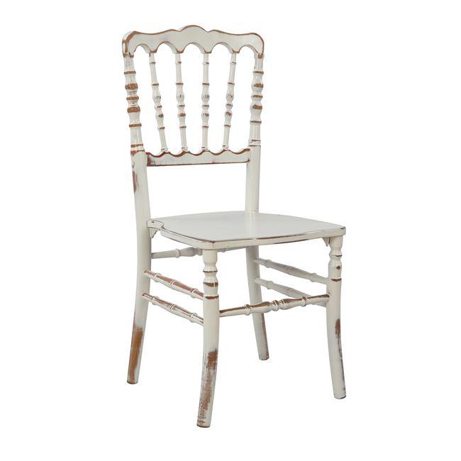 """Καρέκλα """"NAPOLEON"""" από ξύλο σε χρώμα εκρού πατίνα 40×45,5×90"""