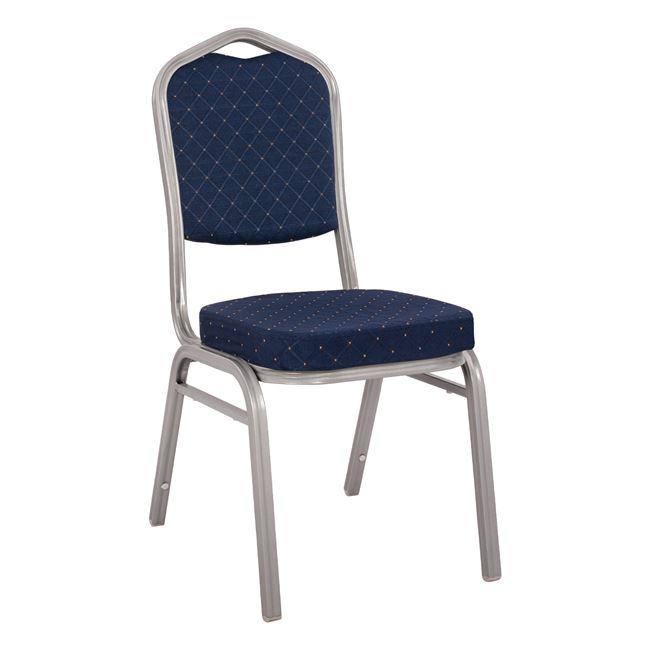 """Καρέκλα συνεδρίου """"HILTON"""" από μέταλλο/ύφασμα σε χρώμα ασημί/μπλε 44x61x92"""