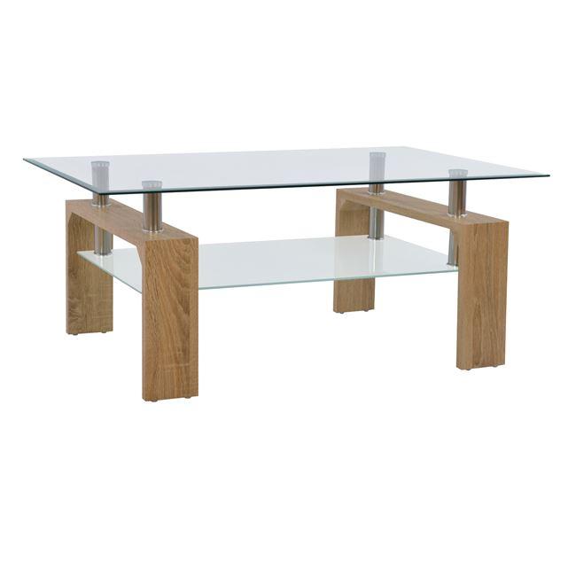 Τραπέζι σαλονιού από γυαλί σε χρώμα σονόμα 100x60x43