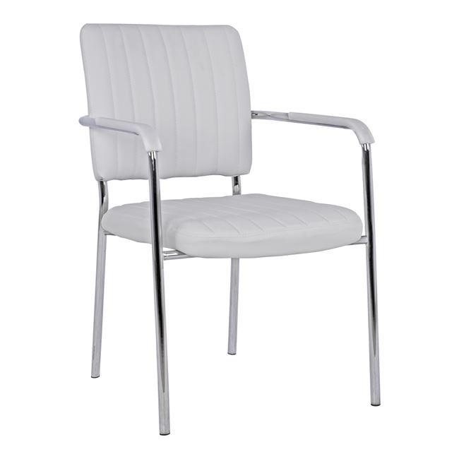 Πολυθρόνα επισκέπτη από μέταλλο/PU σε χρώμα λευκό 56,5x59x85