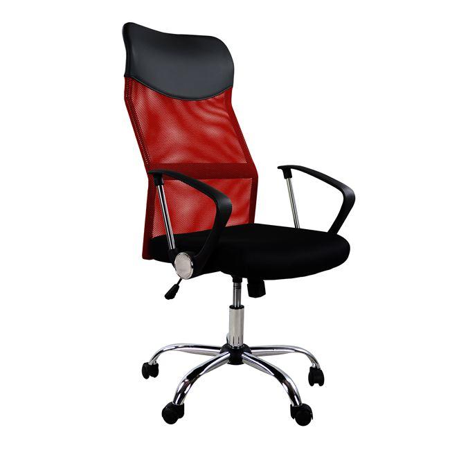 Πολυθρόνα εργασίας από ύφασμα/μέταλλο σε χρώμα μαύρο/κόκκινο 61x56x118