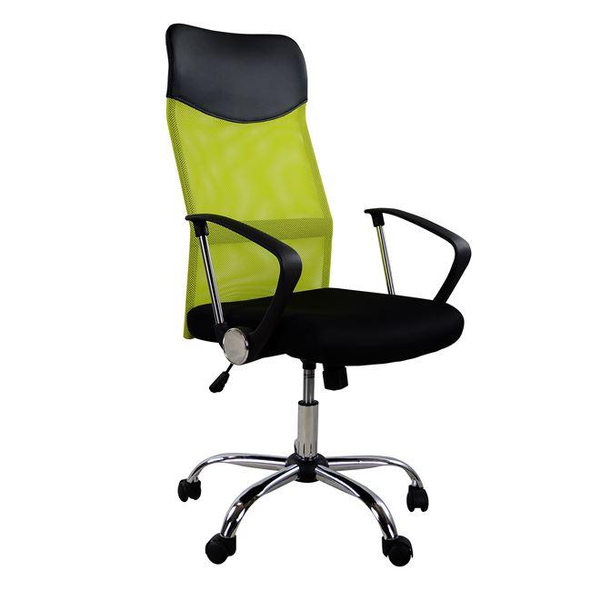 Πολυθρόνα γραφείου από ύφασμα mesh/μέταλλο σε χρώμα λαχανί/μαύρο 61x56x118