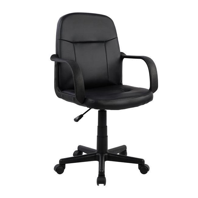 Πολυθρόνα γραφείου από PU σε χρώμα μαύρο 56,5x50x100