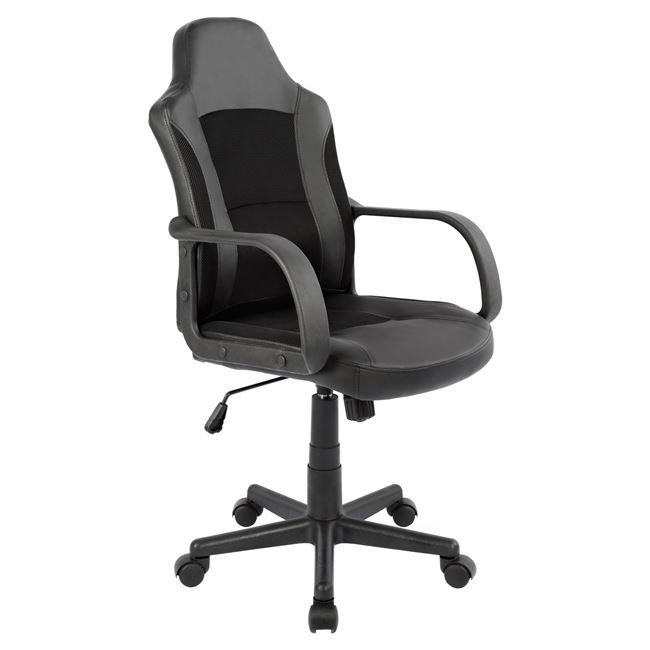 """Πολυθρόνα γραφείου """"SPEED"""" από PU/ύφασμα mesh σε χρώμα μαύρο 56x61x106"""