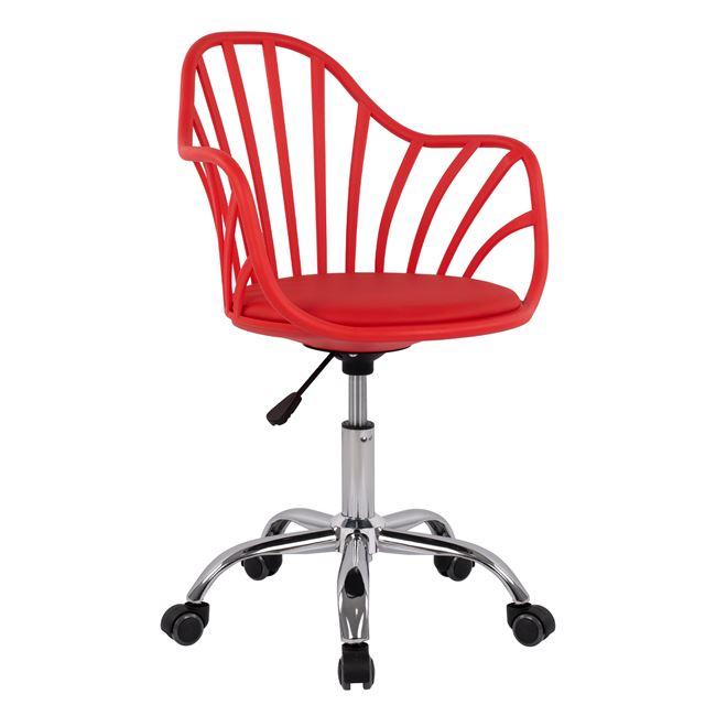"""Πολυθρόνα γραφείου """"BECKY"""" από PP σε χρώμα κόκκινο/ασημί 57x57x96"""