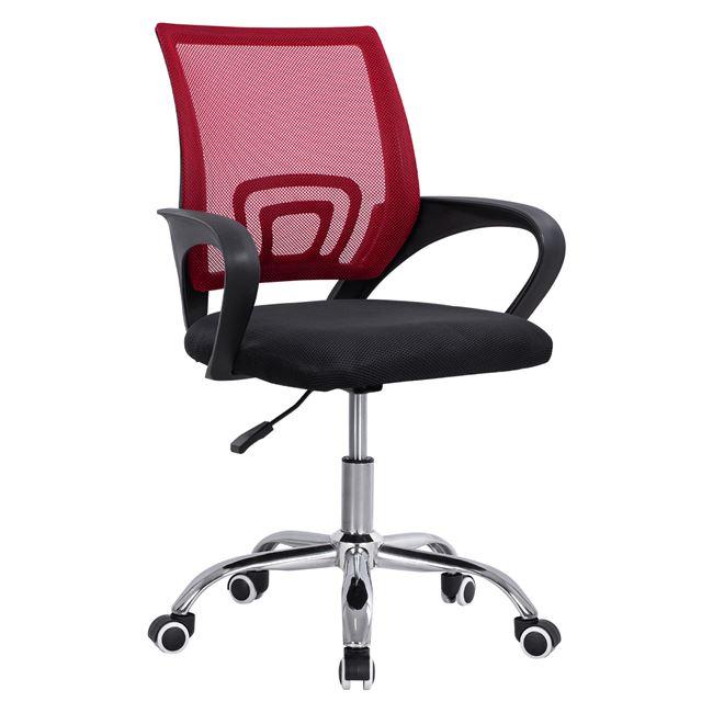 """Πολυθρόνα γραφείου """"BRISTONE"""" από ύφασμα mesh σε χρώμα κόκκινο/μαύρο 60x51x95"""