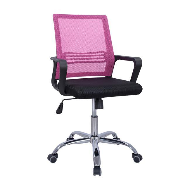 Πολυθρόνα εργασίας από ύφασμα mesh σε χρώμα μαύρο/ροζ 60x57x94-104