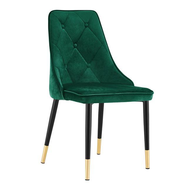 """Καρέκλα """"FANNIE"""" βελούδο/μέταλλο σε χρώμα κυπαρισσί/μαύρο 53x50x87"""
