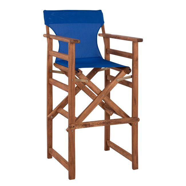 """Σκαμπό μπαρ σκηνοθέτη """"ΛΗΜΝΟΣ"""" από ξύλο/ύφασμα σε χρώμα καρυδί/μπλε 58x58x118"""