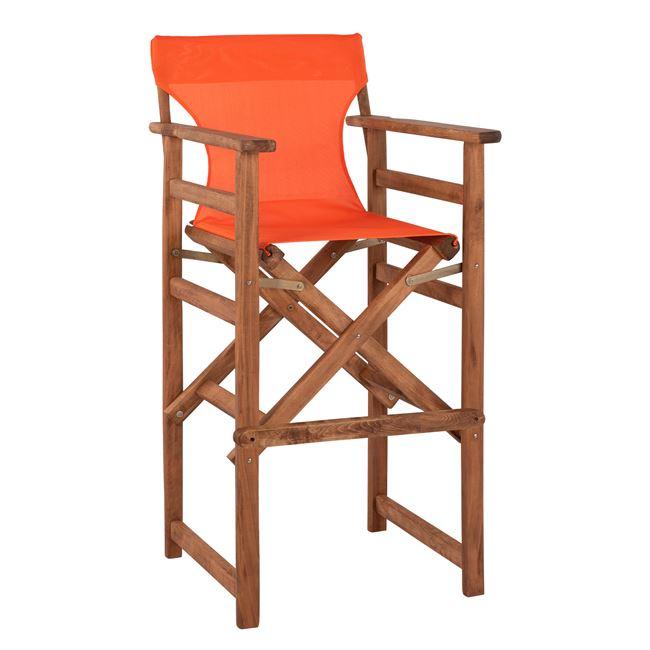 """Σκαμπό μπαρ σκηνοθέτη """"ΛΗΜΝΟΣ"""" από ξύλο/ύφασμα σε χρώμα καρυδί/πορτοκαλί 58x58x118"""