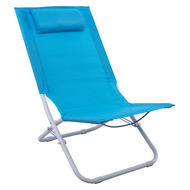 Καρέκλα παραλίας από μέταλλο-ύφασμα σε σιέλ χρώμα 48,5x79x74