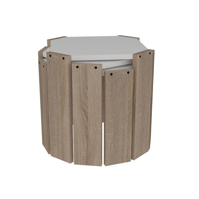 """Τραπεζάκια ζιγκόν 3 τεμάχια """"HANSEL"""" σε χρώμα σονόμα-λευκό 44,5×44,5×41"""