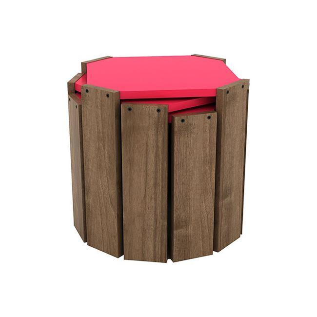 """Τραπεζάκια ζιγκόν σετ 3τμχ """"HANSEL"""" σε χρώμα καρυδί-φούξια 44,5×44,5×41"""
