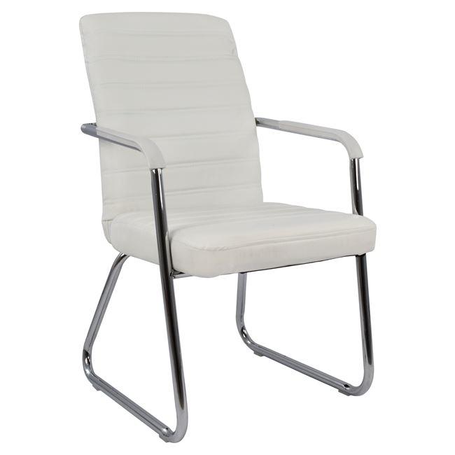 Πολυθρόνα επισκέπτη από pu σε λευκό χρώμα 55,5×67,5×94