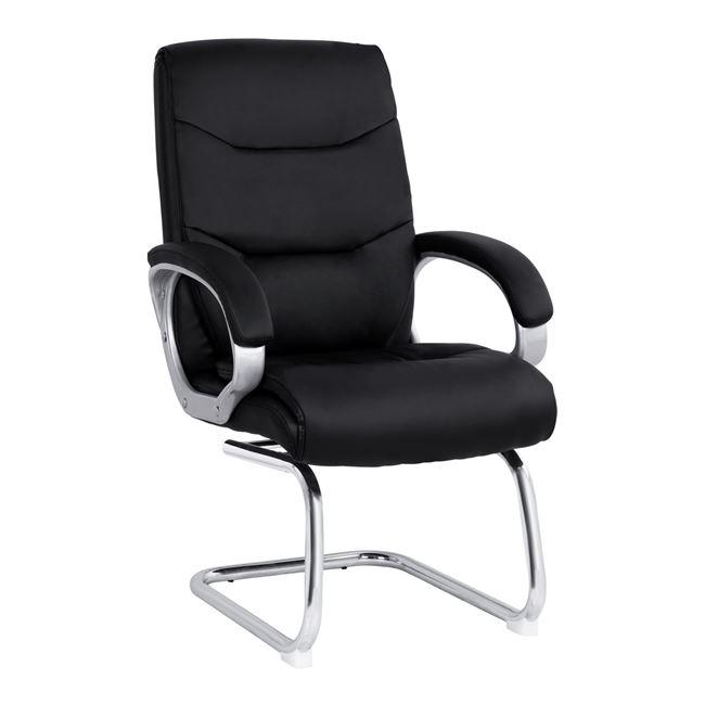 Πολυθρόνα επισκέπτη από PU/μέταλλο σε χρώμα μαύρο 63x70x102
