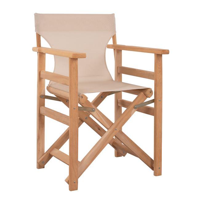 """Πολυθρόνα σκηνοθέτη """"ΛΗΜΝΟΣ"""" από ξύλο/textilene σε χρώμα εκρού 57x54x88,5"""