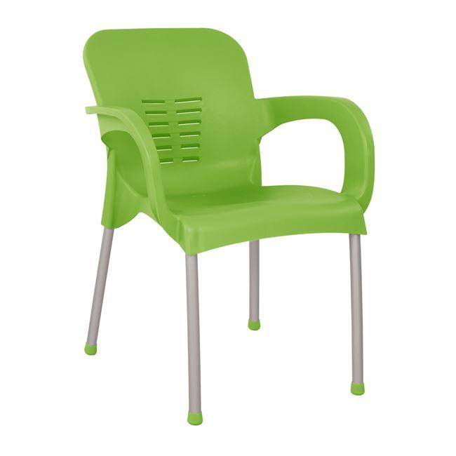 Πολυθρόνα από πολυπροπυλένιο/αλουμίνιο σε χρώμα πράσινο 59x58x81