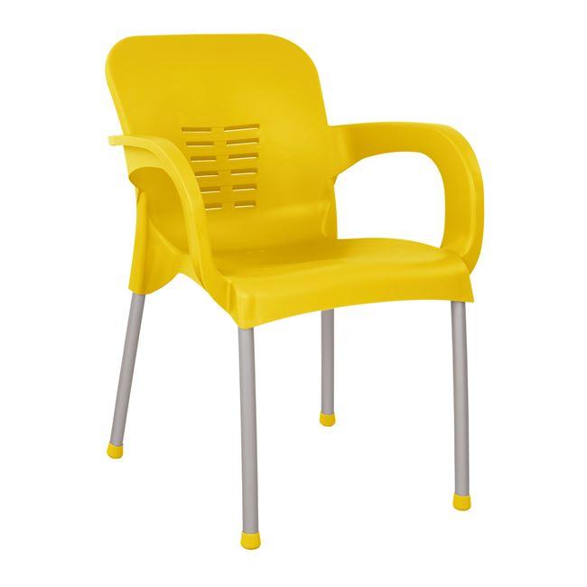 Πολυθρόνα από πολυπροπυλένιο/αλουμίνιο σε χρώμα κίτρινο 59x58x81