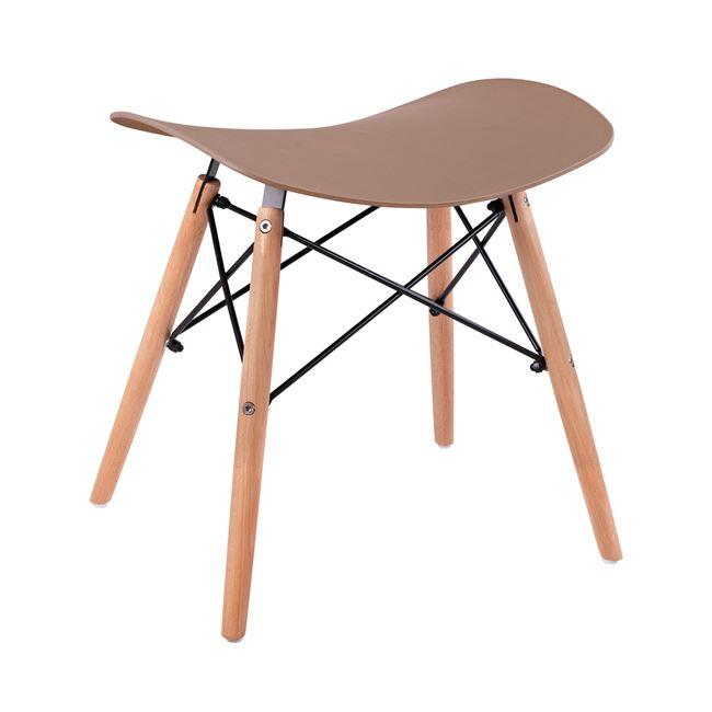 """Σκαμπώ βοηθητικό """"ΤΟΝΙΑ"""" από ξύλο/pp σε χρώμα φυσικό/cappuccino 46,5x35x47"""