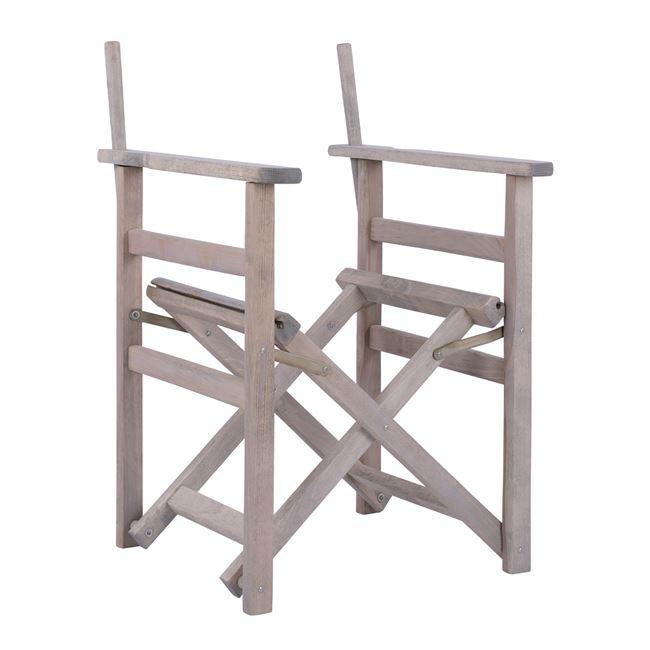 """Πολυθρόνα σκηνοθέτη """"ΛΗΜΝΟΣ"""" σκελετός από ξύλο μασίφ σε χρώμα γκρι 57x54x88,5"""