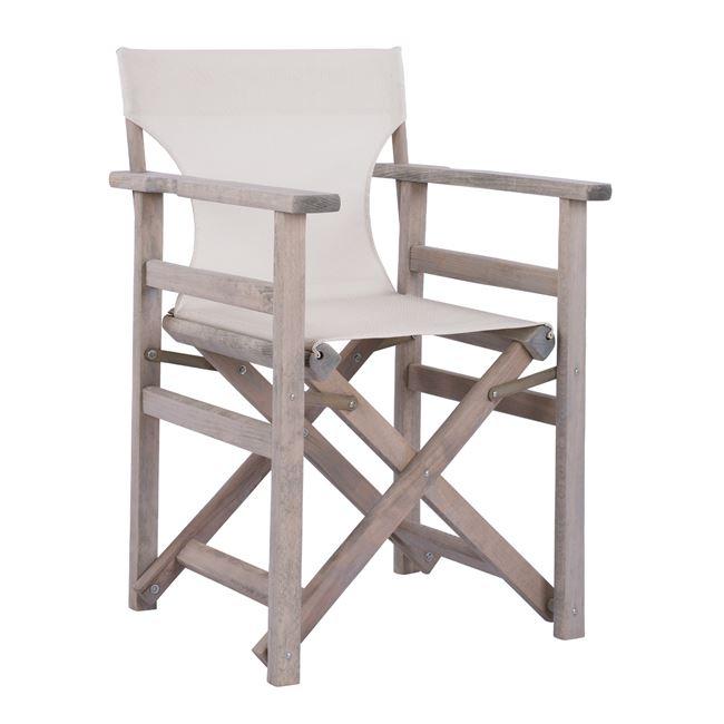 """Πολυθρόνα σκηνοθέτη """"ΛΗΜΝΟΣ"""" από ξύλο/textilene σε χρώμα γκρι/εκρού 57x54x88,5"""