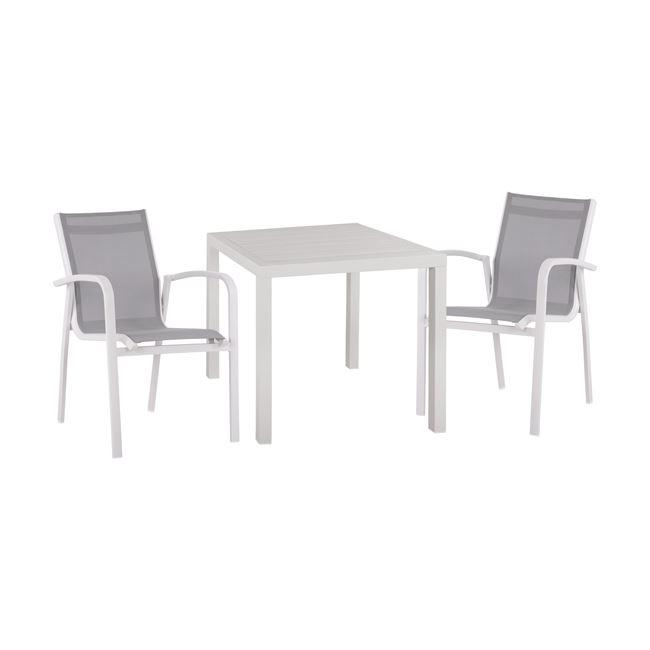 Σετ κήπου 3τμχ αλουμινίου/textilene σε χρώμα λευκό/γκρι 80x80x75,5