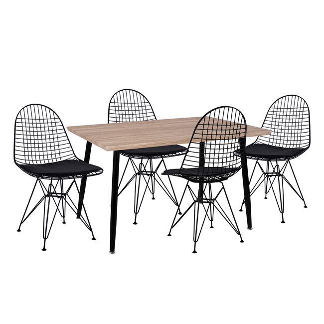 Σετ τραπεζαρίας από ξύλο/μέταλλο σε χρώμα μαύρο/σονόμα 120x70x76,5