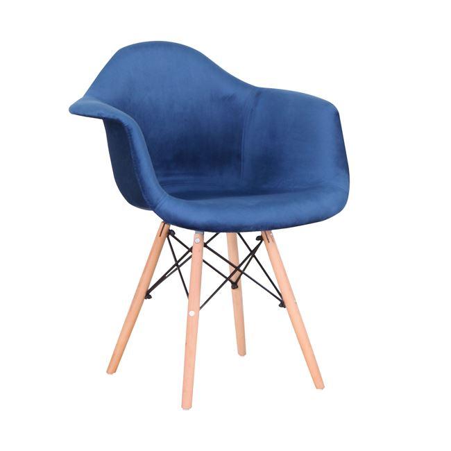 """Πολυθρόνα """"MIRTO"""" από ξύλο/ύφασμα βελούδο σε χρώμα φυσικό/μπλε 63x57x81"""