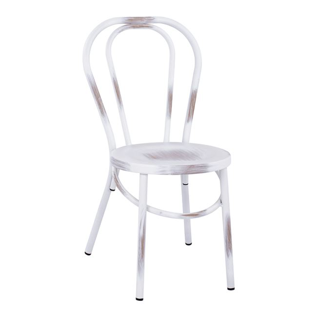 """Καρέκλα τύπου """"ΒΙΕΝΝΗΣ"""" αλουμινίου σε χρώμα λευκό πατίνα 42x52x88,5"""
