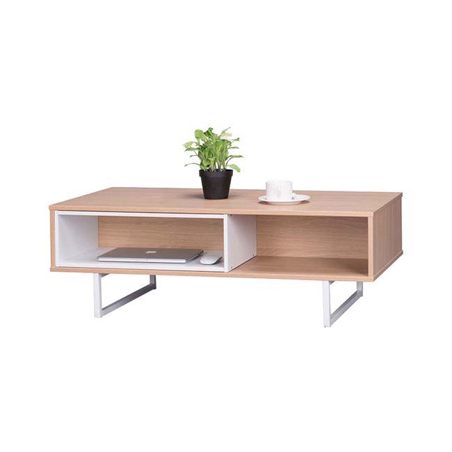 """Τραπέζι σαλονιού """"ANTHEIA"""" σε χρώμα φυσικό με inox πόδια 100x55x37"""