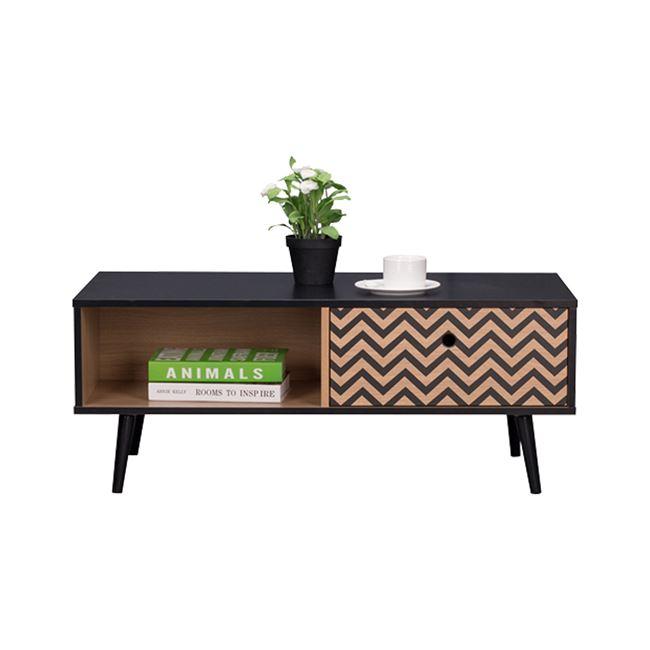 """Τραπέζι σαλονιού """"CHARLEEN"""" σε χρώμα μαύρο/φυσικό 100x50x40"""