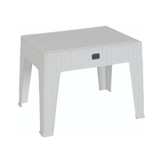 Τραπεζάκι πολυπροπυλενίου rattan σε χρώμα λευκό 55x40x43,5
