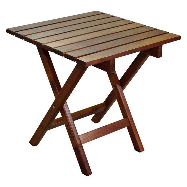 Τραπέζι-σκαμπώ παραλίας πτυσσόμενο από ξύλο σε καρυδί χρώμα 40x40x45