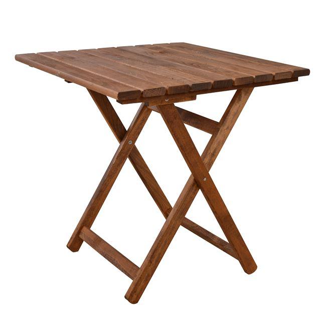 """Τραπέζι σκηνοθέτη """"ΝΑΞΟΣ"""" από μασίφ ξύλο σε καρυδί χρώμα 70x70x72"""
