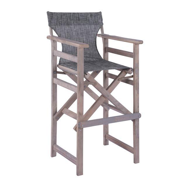 """Σκαμπό μπαρ σκηνοθέτη """"ΛΗΜΝΟΣ"""" από ξύλο/textline σε χρώμα γκρι 58×55,5×117"""
