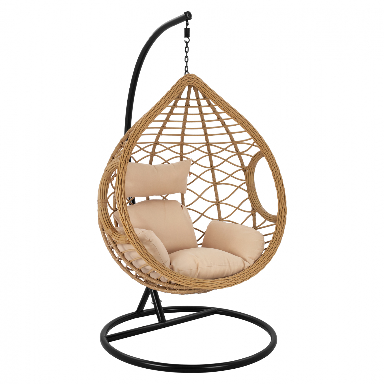 Κρεμαστή πολυθρόνα-φωλιά από μέταλλο-wicker σε μαύρο-μπεζ χρώμα 108×75Χ122