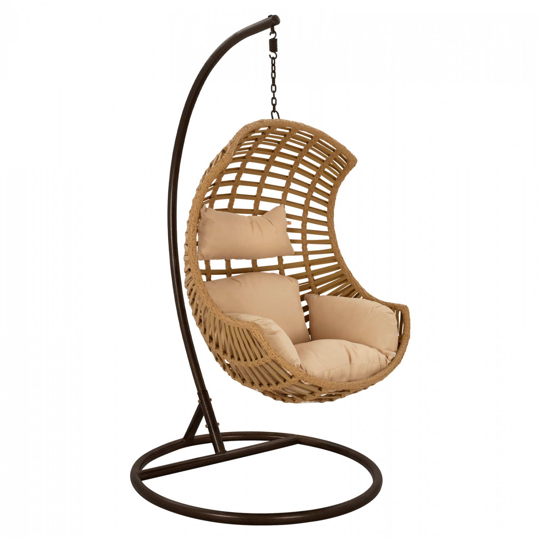 Κρεμαστή πολυθρόνα-φωλιά από μέταλλο-wicker σε μαύρο-μπεζ χρώμα 85x80x114