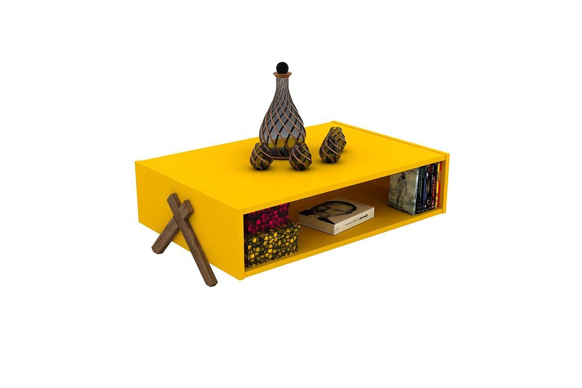 """Τραπεζάκι σαλονιού """"KIPP"""" σε χρώμα κίτρινο-καρυδί 93,5×60,5×28,5"""