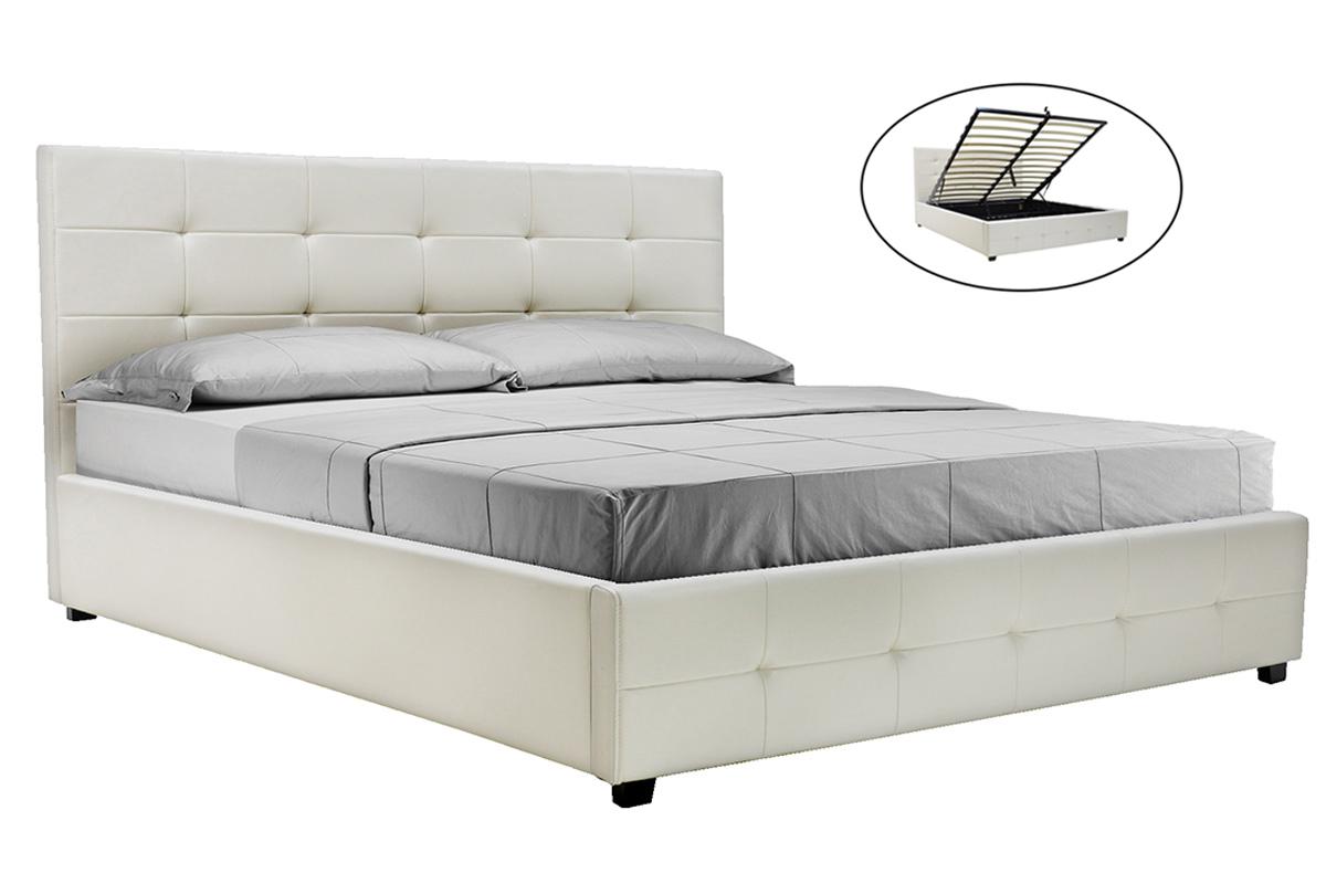 """Κρεβάτι """"ROI"""" διπλό από τεχνόδερμα σε χρώμα λευκό ματ με αποθηκευτικό χώρο 172x218x109"""