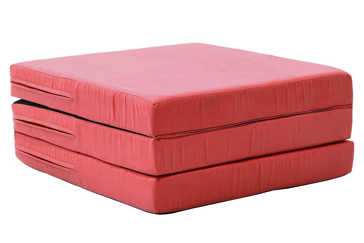 """Πουφ σκαμπώ-κρεβάτι """"KARMA"""" από ύφασμα σε χρώμα κόκκινο 192/65x65x27"""