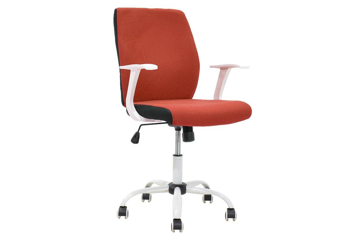 """Πολυθρόνα εργασίας """"MEMORY"""" με ύφασμα mesh σε χρώμα κόκκινο-λευκό 60x61x95/105"""