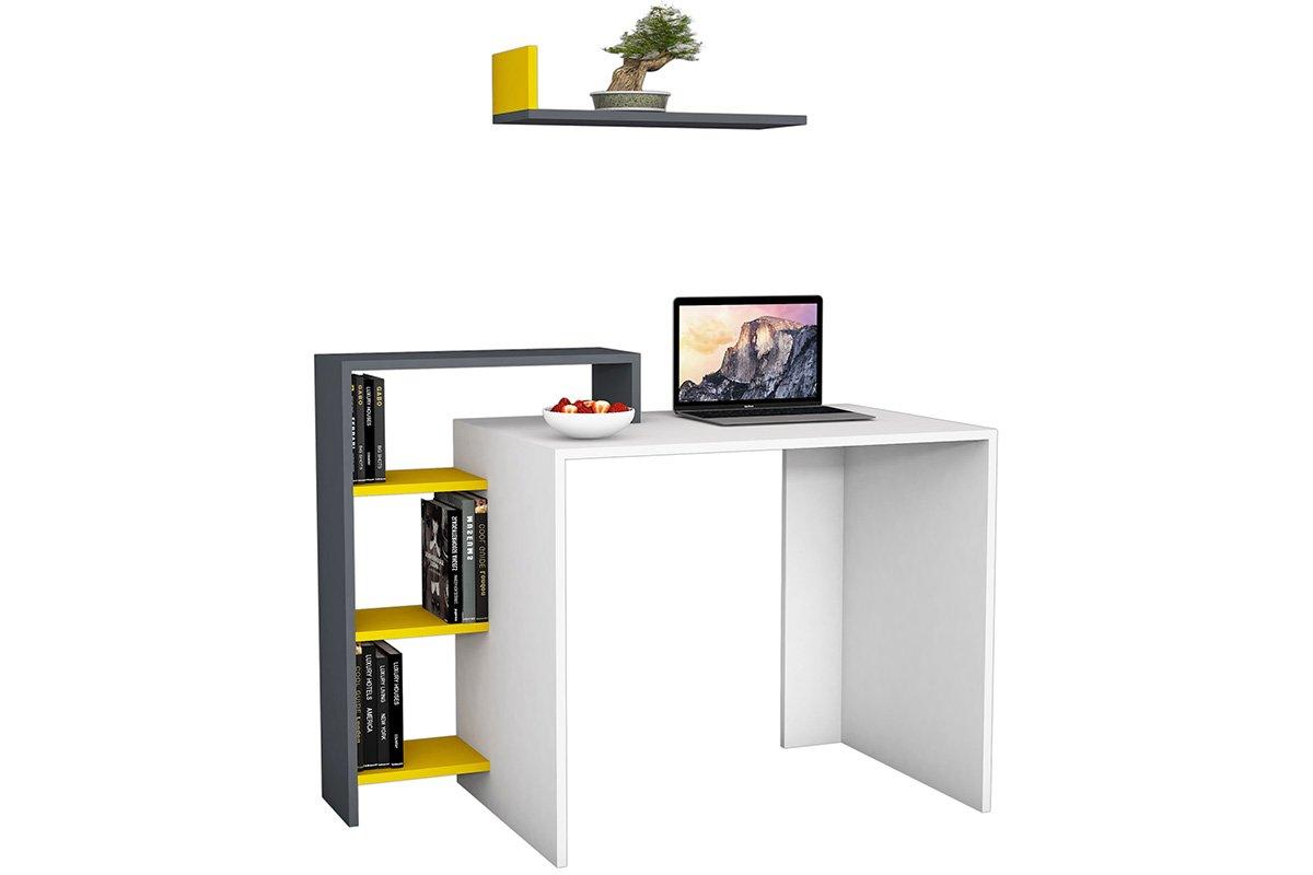 """Γραφείο """"SWAN"""" σε χρώμα λευκό με ανθρακί-κίτρινο 118x60x90,8"""