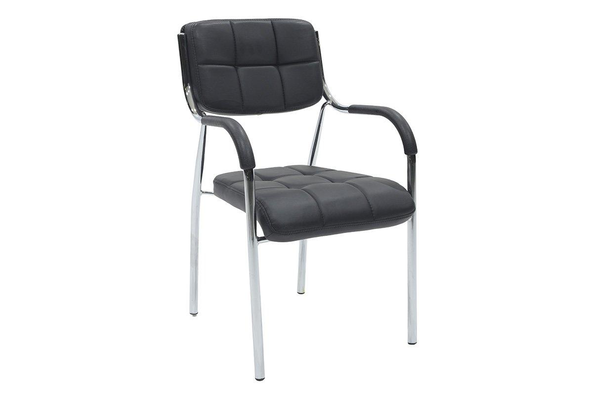 """Πολυθρόνα επισκέπτη """"FLORIDA"""" με τεχνόδερμα σε χρώμα μαύρο 52x52x86"""