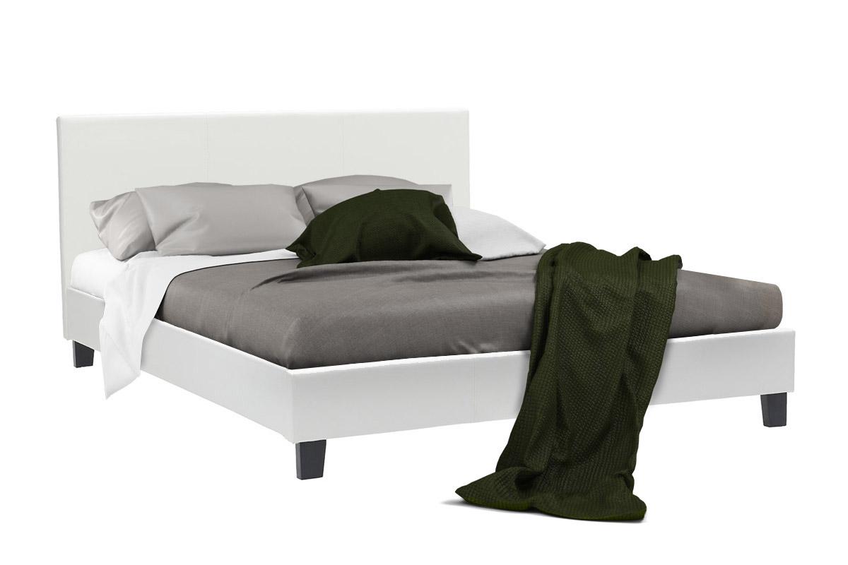 """Κρεβάτι """"NEVIL"""" διπλό από τεχνόδερμα σε χρώμα λευκό ματ 156x212x87"""